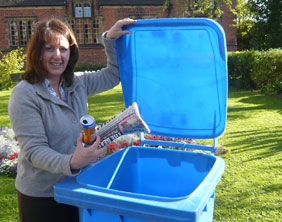 Christine Cole, Lichfield District Council's Recycling and Street Scene Development Officer, with one of the new blue bins