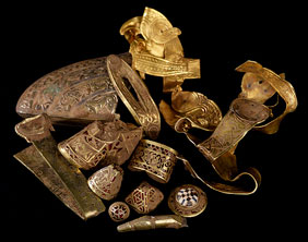 Some of the items which make up The Staffordshire Hoard. Pic: Portable Antiquities Scheme