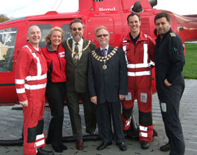 Ian Whalley (paramedic), Helen Hitchman (Area fund raising manager), Cllr Ken Humpreys, Cllr Joesph Powell, Steve Mitchell (paramedic) and Matthew Wood (pilot)