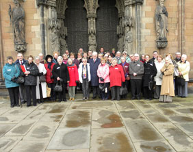 Cllr David Smith shows tourism representatives around Lichfield