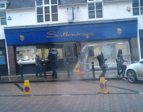 The damaged Salloways shop front. Pic: Sam Ackroyd