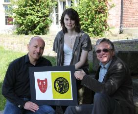 Mark Rogers, Creative Director of Igloo57, with Rachael Sivewright and President of the Lichfield Players, Stephen Brunton