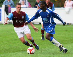 Ramone Stephens on the ball in a pre-season clash with Aston Villa in 2010. Pic: Dave Birt