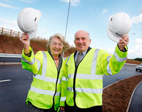 County Councillors Erica Bayliss and Terry Finn at the new junction
