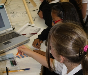 Students taking part in an animation workshop.