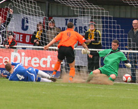 Ben Tomlinson scores for Worksop Town against Chasetown. Pic: Dave Birt