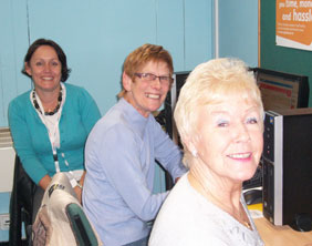 Volunteer Angela Stevenson with Gill James and Margaret Dutton