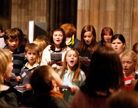 Children singing during Evensong
