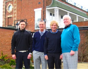 Mike Raj, Trevor Ashforth, Michael Fabricant and John Tipper outside Whittington Heath Golf Club's historic clubhouse