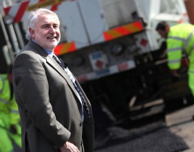 Cllr Mike Maryon sees the work of the pothole repair teams