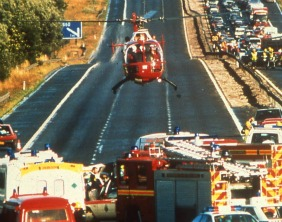 The Midlands Air Ambulance attending an incident in 1991