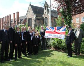 Nether Stowe School pupils with Cllr Bernard Derrick, Cllr Ken Humphreys and World War II veteran Tom Proctor MBE