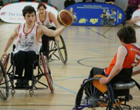Rhinos wheelchair basketball team in action