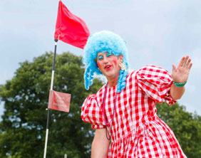 Pete Till on the course in his panto dame outfit