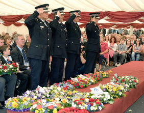 Officers pay tribute at the COPS remembrance service