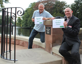 John Brough and Canon Pete Wilcox at Speakers' Corner
