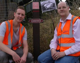 Members of the South Staffordshire Rail Group with the new information post at Hammerwich