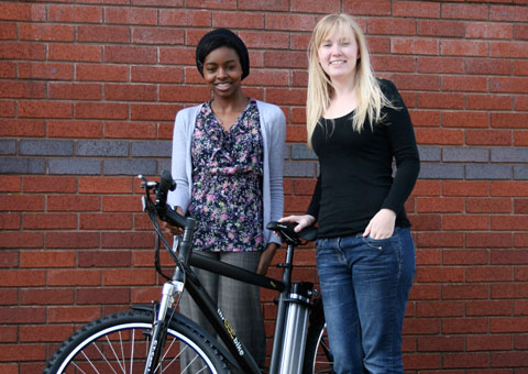 Kevina Williams and Nik Woodhall get a closer look at an electric bike