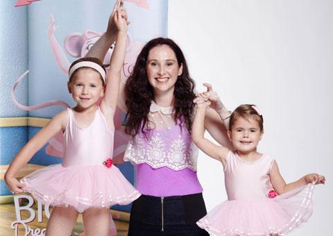 Angelina Ballerina Dance Academy teacher Elizabeth Thomas with two young dancers