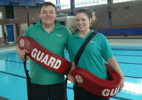 Scott Tennant and Alison Rippon prepare for the lifeguard training course