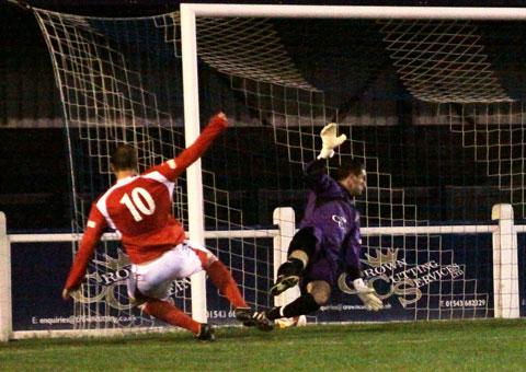 Brian Cusworth puts Stocksbridge Park Steels 2-1 up against Chasetown. Pic: Dave Birt