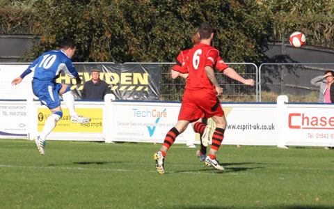 Dean Perrow fires home to make it 3-0. Pic: Dave Birt