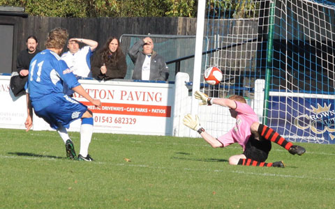 Kingsley James scores on his Chasetown debut. Pic: Dave Birt