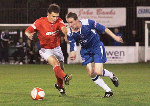 Chasetown's Mark Hands beats his marker. Pic: Dave Birt