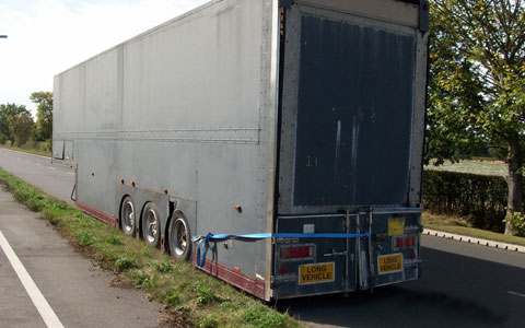 The lorry trailer dumped in Fradley