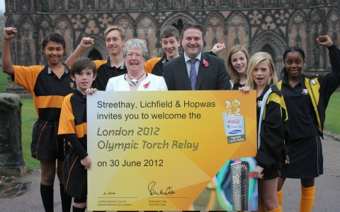 Celebrations after it was confirmed the Olympic Torch would be coming to Lichfield