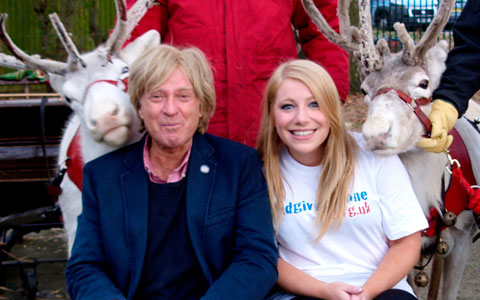 Michael Fabricant meets the reindeer with Hannah Montgomery