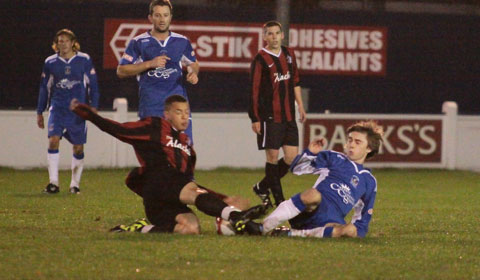 Andy Westwood goes in for a tackle. Pic: Dave Birt