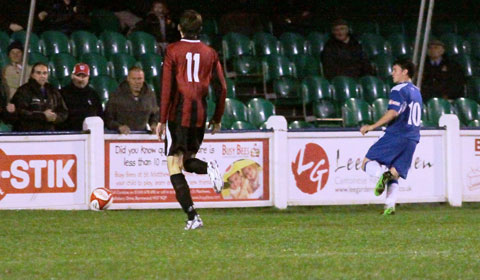 Danny Smith makes it 2-0 to Chasetown. Pic: Dave Birt