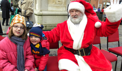 Amber and Corey Sheppard meet Father Christmas