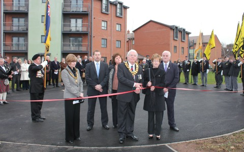 The ribbon is cut on Robert Davies Walk