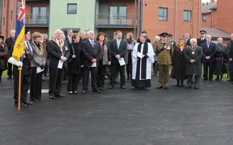 The family of Robert Davies join dignitaries for the naming ceremony