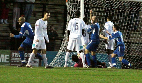 Chasetown go ahead against Hednesford Town. Pic: Dave Birt