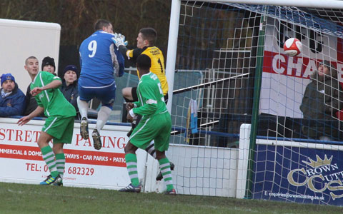 Gary Birch beats the keeper to the ball to give Chasetown the lead. Pic: Dave Birt
