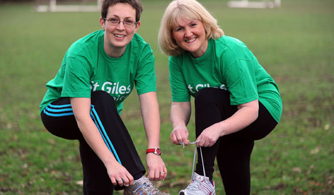 Emma McCarthy and Elaine Harris get ready for the first St Giles Hospice Lichfield 5K