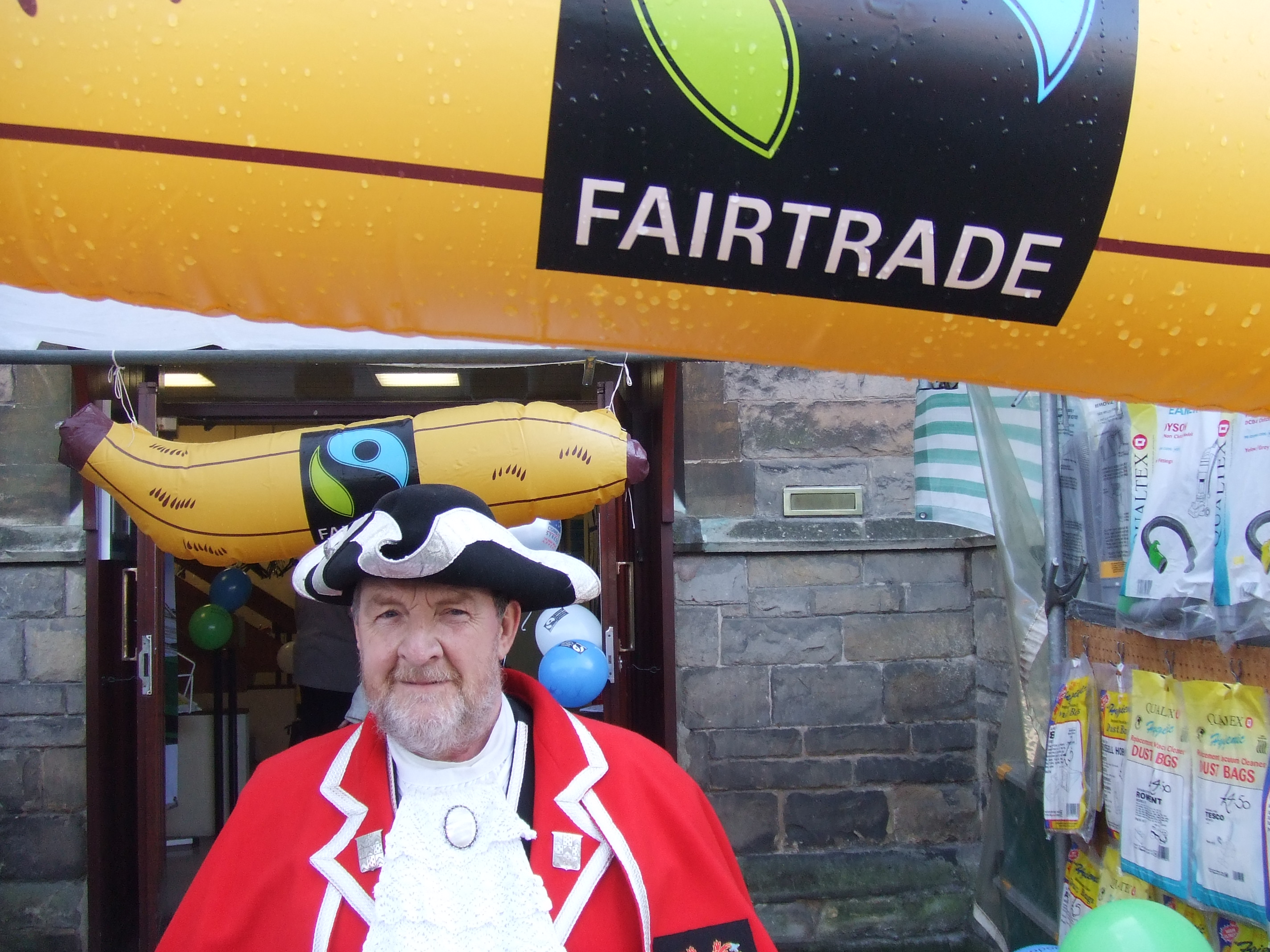 Lichfield city Town Crier Ken Knowles lets Lichfield people know about what's happening during Fairtrade Fortnight