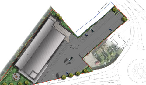 The aerial plan for the new Aldi store