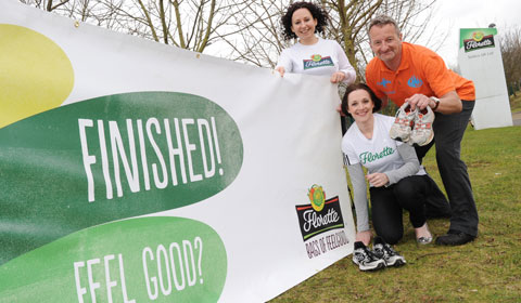 Florette's Niki Webster and Laura Shaw with Kevin Wilson from KP Events