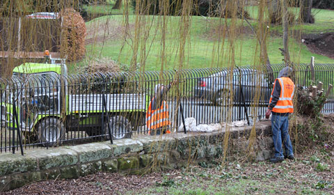 The Community Payback team working on the railings
