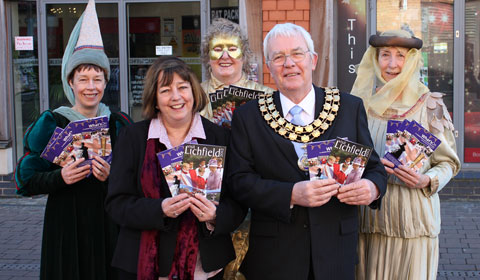 Cllr Louise Flowith and Cllr Bernard Derrick with Jill Taylor, Ros Halifax and Sue Baillargeon from the Lichfield Mysteries