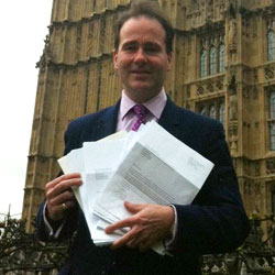 Christopher Pincher MP with the wind farm objection letters
