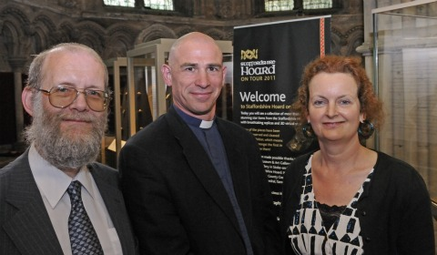Dr David Symons (Birmingham Museums), The Rt Revd Dr Pete Wilcox (Lichfield Cathedral) and Deb Klemperer (The Potteries Museum & Art Gallery)