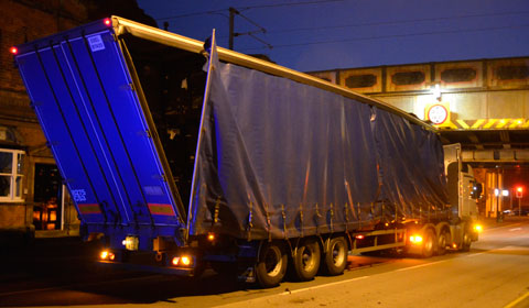 The lorry on Upper St John Street after hitting the bridge. Pic: www.southstaffsrail.co.uk