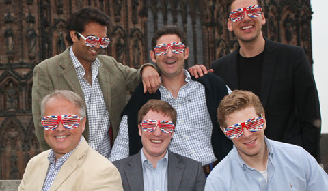 The King's Singers in their red, white and blue glasses