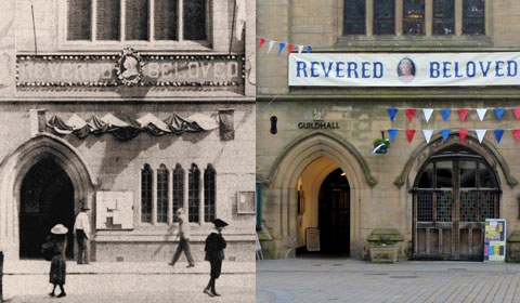 The Guildhall banners in 1897 and 2012