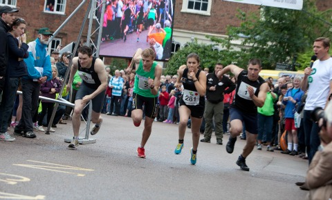 The athletes set off on the 2012 Lichfield Dash